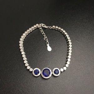 Savvy Cie Sterling Silver Lab Sapphire & CZ